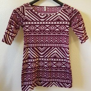 Burgundy & Ivory Geo Print Fitted Maternity Top